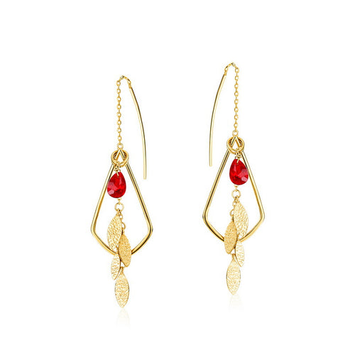 Ladies 925 Silver Red Crystal Earrings