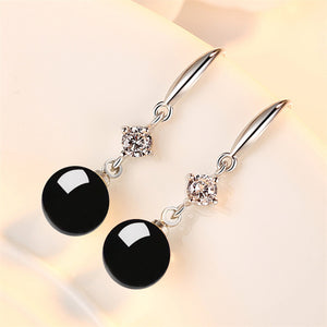 Wind green agate zircon earrings long retro earrings