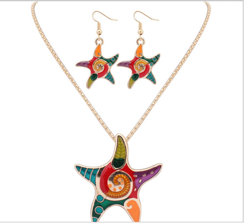 Drop oil color Sea Star Necklace