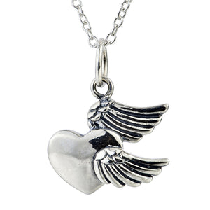 925 Sterling Silver Angel Wings Heart Shape Necklace