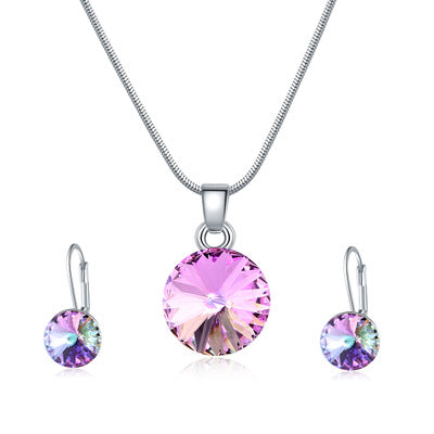 Pink Crystal Earring Necklace Set