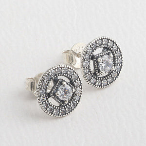 Vintage Charm Zircon Stud Earrings
