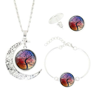 Tree of Life Time Gemstone Earrings Jewelry Necklace Set