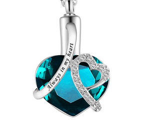 Heart-shaped urn pendant always in my heart perfume bottle