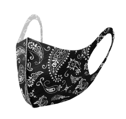 Black & White Paisley Print Fashion Face Mask - PPE16