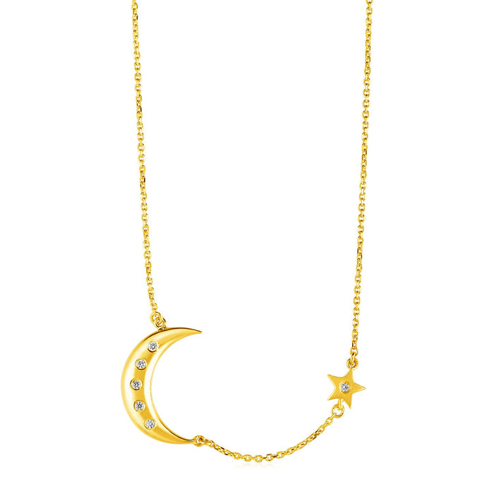 14k Yellow Gold Necklace with Moon and Star with Diamonds