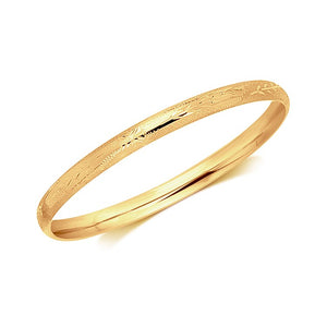 14k Yellow Gold Dome Style Children's Bangle with Diamond Cuts Bangles GS4LESS