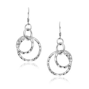 Sterling Silver Dangling Earrings with Dual Textured Circles Earrings GS4LESS