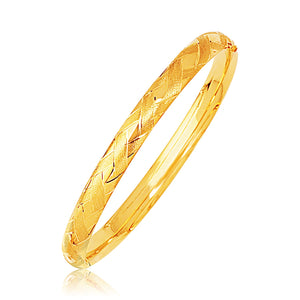 14k Yellow Gold Domed Bangle with a Weave Motif Bangles GS4LESS