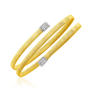 14k Two Tone Gold Spiral Bangle with Diamonds Bangles GS4LESS
