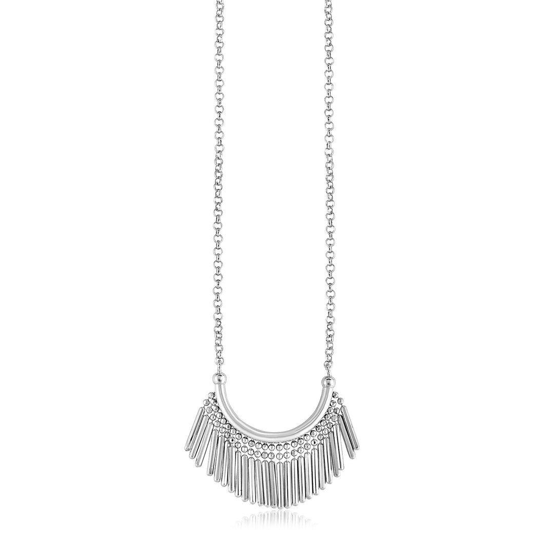 Sterling Silver Necklace with Curved Bar and Fringe