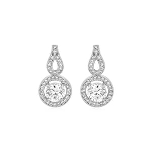 Earrings with Circle and Teardrop Motif with Cubic Zirconia in Sterling Silver Earrings GS4LESS