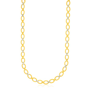 14k Two-Tone Gold Multi-Textured Oval Link Fancy Necklace Necklaces GS4LESS