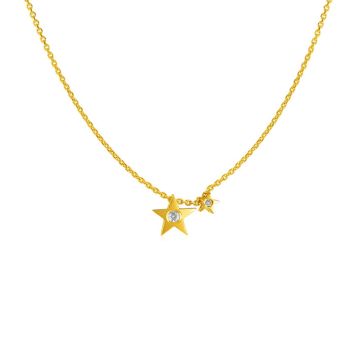 14k Yellow Gold Necklace with Stars and Diamond