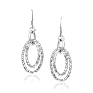 Sterling Silver Textured Dual Open Oval Style Dangling Earrings Earrings GS4LESS