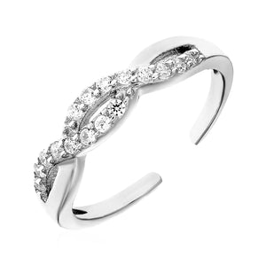 Toe Ring with Intertwined Cubic Zirconia in Sterling Silver