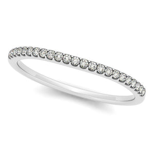14k White Gold Scallop Setting Round Diamond Wedding Band (1/10 cttw) Rings GS4LESS