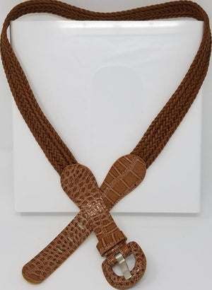 Brown Woven Croc-Patterned Fashion Belt Women's Belts GS4LESS L - XL Brown