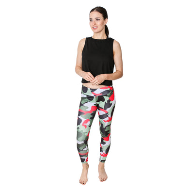 GS4LESS Women's Green & Red Sporty Camo Leggings