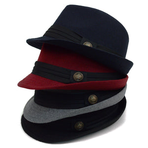 Fedora Hat with Band Trim and Button Men's Hat GS4Less