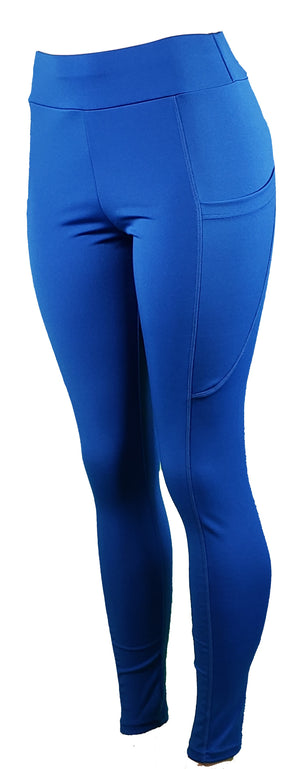 GS4LESS Women's Blue High Waist 2-Pocket Active Leggings