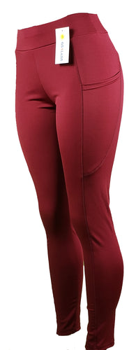 Burgundy active leggings with side pockets and high waist - GS4LESS