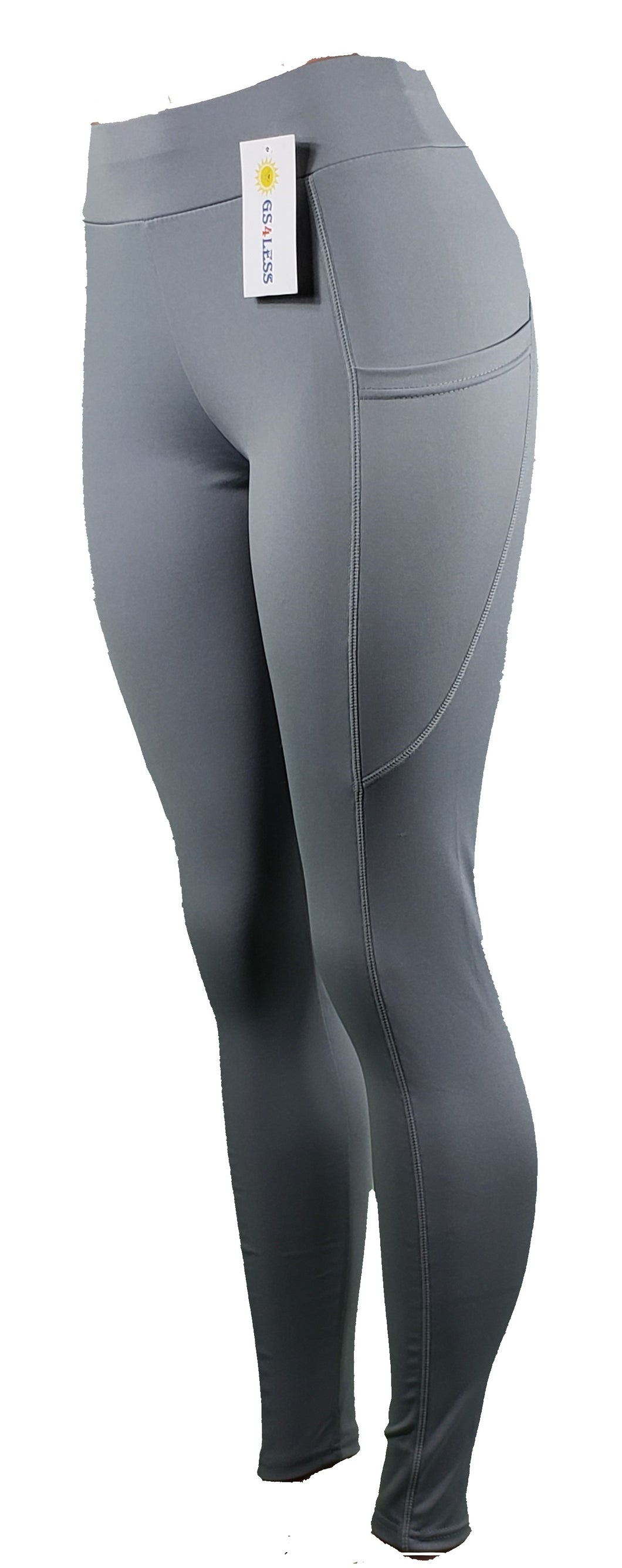 Gray sports leggings with pockets - GS4LESS