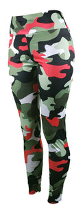 Black, red, and green camo gym leggings - GS4LESS