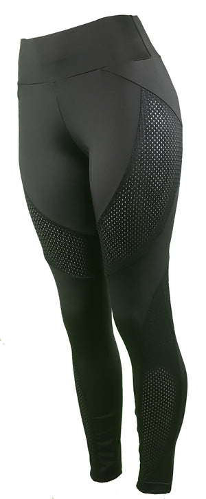 GS4LESS Women's Black Techno Mesh Pattern Leggings