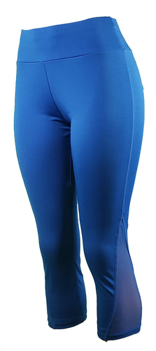 Royal blue capri leggings with mesh side panels - GS4LESS