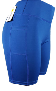 GS4LESS Women's Blue Sporty Pocket Shorts Leggings