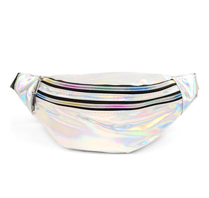 Nollia Silver Iridescent Holographic Waist Fanny Pack