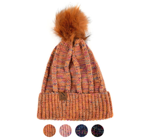 Nollia Women's Extra Soft Multicolored Pom Pom Knit Winter Hats