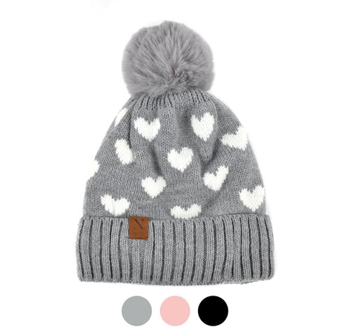 Nollia Women's Hearts and Pom Pom Knit Winter Hat
