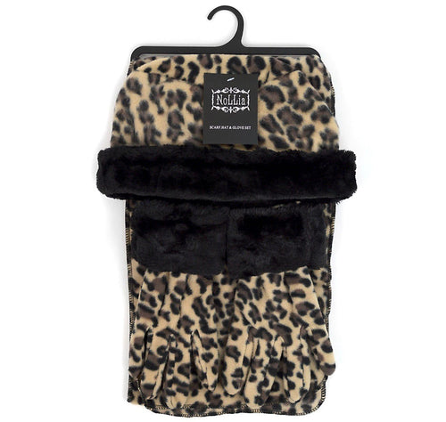 Nollia Women's Winter Fleece Leopard Print Hat, Gloves, & Scarf Set Winter Fleece Sets Nollia