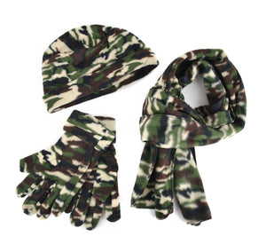 Nollia Women's Winter Fleece Leopard and Camo Print Hat, Gloves, & Scarf Set Winter Fleece Sets Nollia