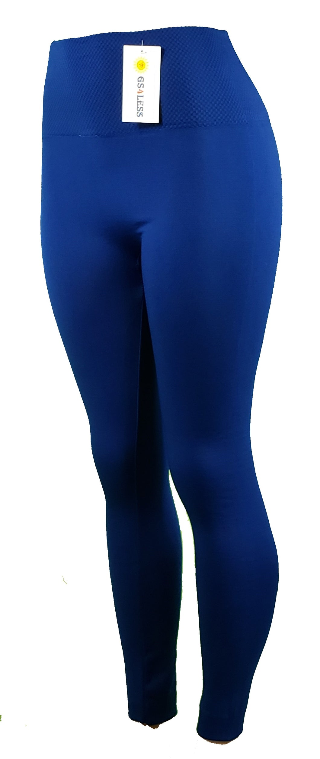 Blue casual leggings with high waist - GS4LESS