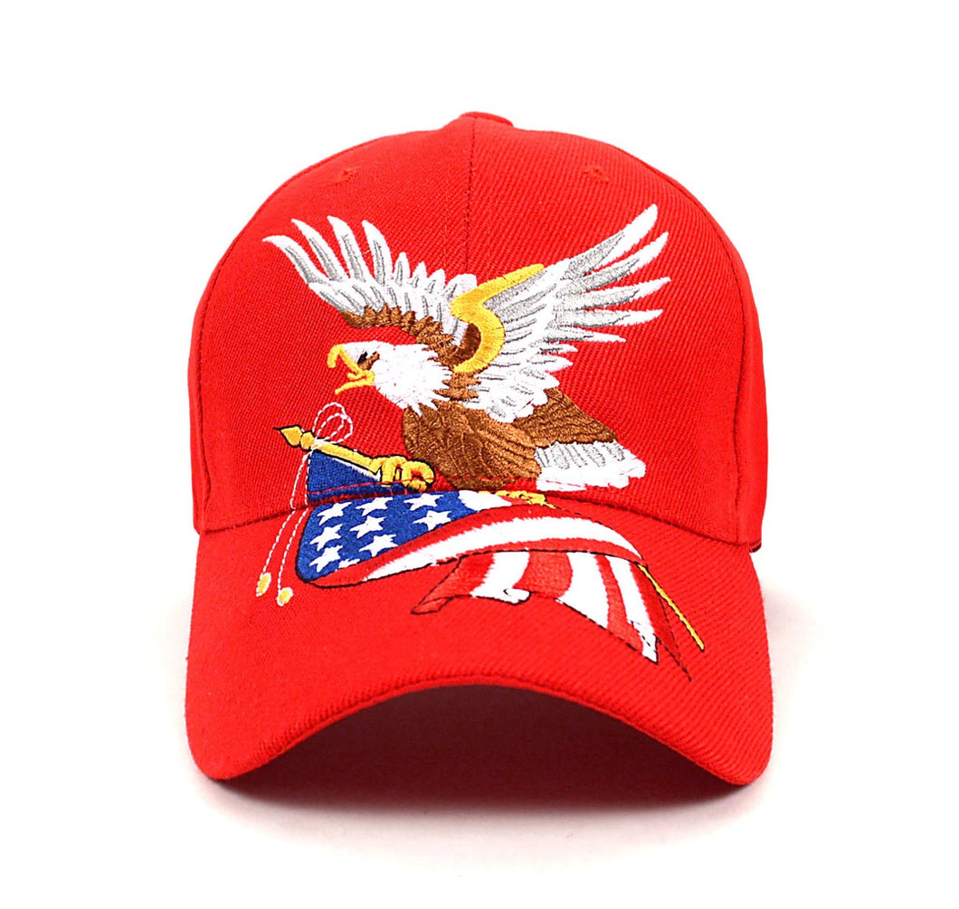Parquet USA Flag Eagle Red 3D Embroidered Baseball Cap