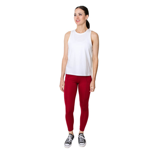 GS4LESS Women's Burgundy 2-Pocket Active Leggings