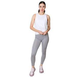 GS4LESS Women's Gray High Waist 2-Pocket Active Leggings