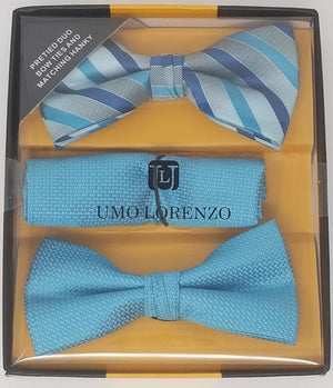UMO LORENZO TWO PRE-TIED BOW TIES & POCKET SQAURE Bow Tie Sets GS4Less Aqua-Blue-Aqua-Plaid