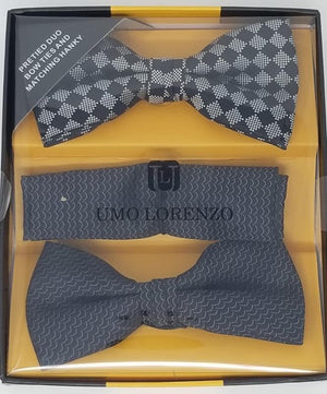 UMO LORENZO TWO PRE-TIED BOW TIES & POCKET SQAURE Bow Tie Sets GS4Less Black-Black-Checker