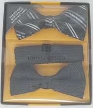 UMO LORENZO TWO PRE-TIED BOW TIES & POCKET SQAURE Bow Tie Sets GS4Less Black-Black-Plaid