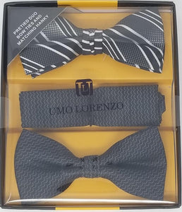 UMO LORENZO TWO PRE-TIED BOW TIES & POCKET SQAURE Bow Tie Sets GS4Less Black-Black-Stripe