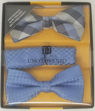 UMO LORENZO TWO PRE-TIED BOW TIES & POCKET SQAURE Bow Tie Sets GS4Less Blue-Gray-Plaid
