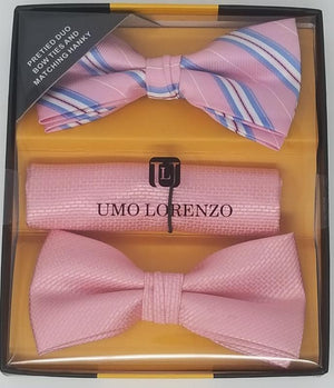 UMO LORENZO TWO PRE-TIED BOW TIES & POCKET SQAURE Bow Tie Sets GS4Less Pink-Blue-Pink-Plaid