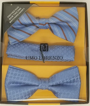 UMO LORENZO TWO PRE-TIED BOW TIES & POCKET SQAURE Bow Tie Sets GS4Less Blue Brown Stripe-Blue