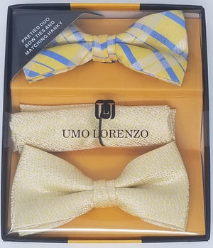 UMO LORENZO TWO PRE-TIED BOW TIES & POCKET SQAURE Bow Tie Sets GS4Less Champagne-Yellow-Blue-Plaid