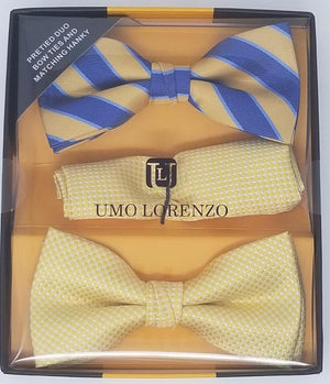 UMO LORENZO TWO PRE-TIED BOW TIES & POCKET SQAURE Bow Tie Sets GS4Less Yellow-Blue-Stripe