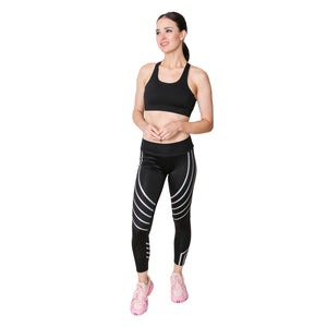 GS4LESS Women's Black & Silver Striped Workout Leggings